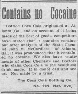 Cocaine in Victorian Coca-Cola: Going… Going… Gone ...