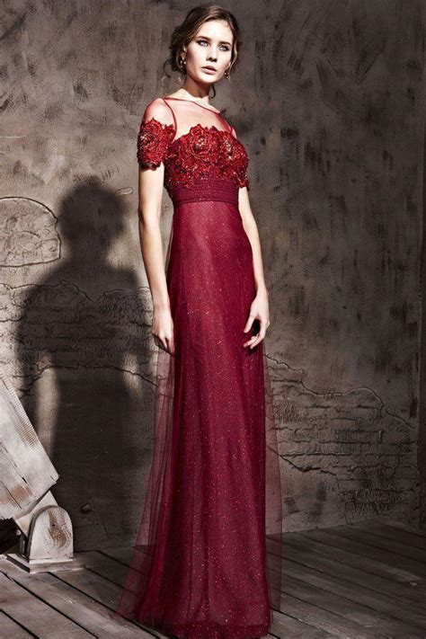 wine red evening dresses jewil short sleeve lace appliques