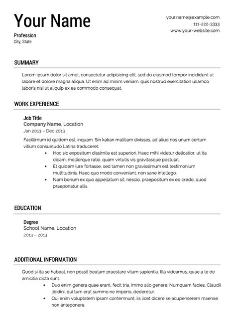 Formal Resume Template by My Resume Templates