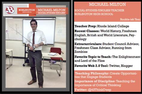 teacher trading cards    michael  milton