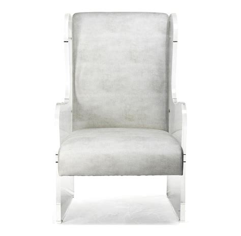 modern deco ivory faux leather acrylic wing back chair