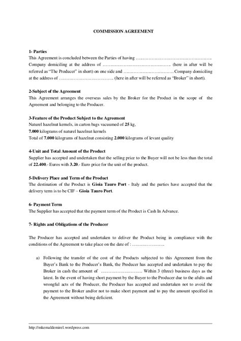 broker commission sharing agreement template templates