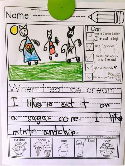 """Journal Prompts That Help Beginning Writers Succeed With """"i Can"""" Statements And An Illustrated"""