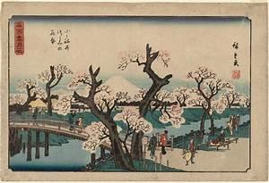 Utagawa Hiroshige: Cherry Trees in Bloom on the Embankment ...