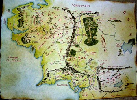 map  middle earth  phoenixtelstar  deviantart