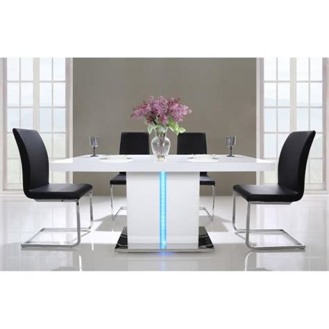 desserte cuisine blanche laser table à manger 160cm laqué blanc brillant avec led