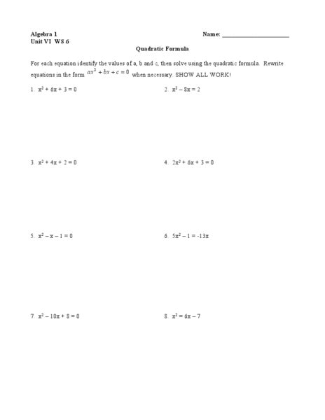 Solving Quadratic Using Quadratic Formula Worksheet  Openalgebra Guidelines For Solving
