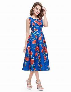 Feminine Sleeveless Scoop Neck Floral Print Tea-length Dress  Ap05443cr  37