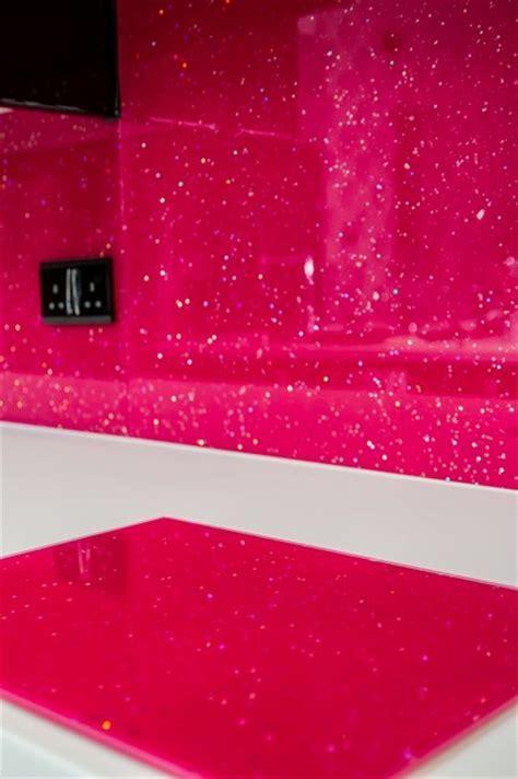 """PINK CANDY"" glitter glass kitchen splashback"