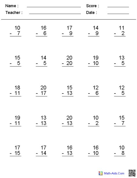 subtraction fact table worksheets times tables