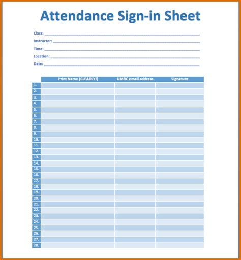 printable attendance sheet authorizationlettersorg