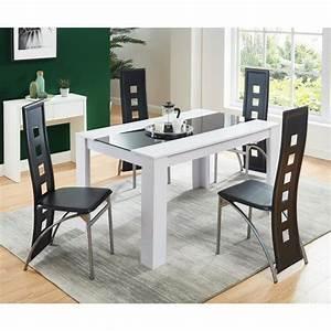 Table 6 Personnes : damia table manger 4 6 personnes style contemporain en panneaux de fibres blanc et verre ~ Teatrodelosmanantiales.com Idées de Décoration