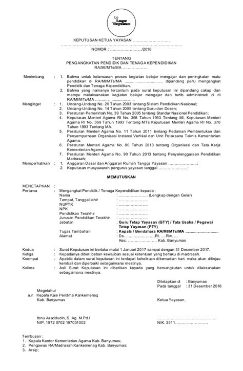 Contoh Surat Sk Pengangkatan Karyawan Tetap - Contoh Seputar Surat