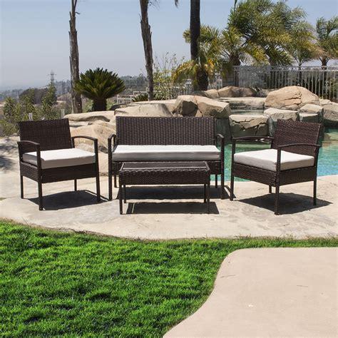 Outdoor Wicker Furniture by 4pcs Outdoor Rattan Wicker Patio Set Garden Lawn Sofa