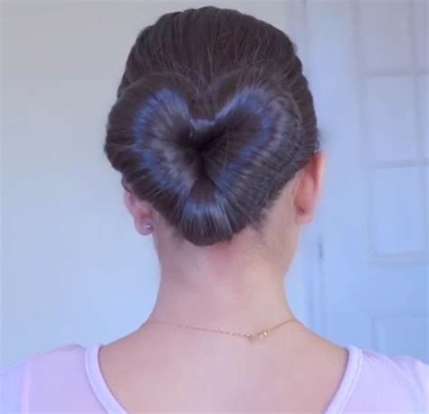 this diy heart bun hairstyle is the stuff of valentine s