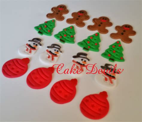 christmas cake toppers fondant snowman gingerbread man