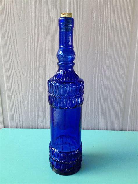 vintage cobalt blue glass bottle blue glass bottles