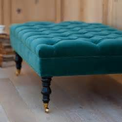 hazel tufted ottoman by bradshaw kirchofer i this peacock blue teal colored ottoman