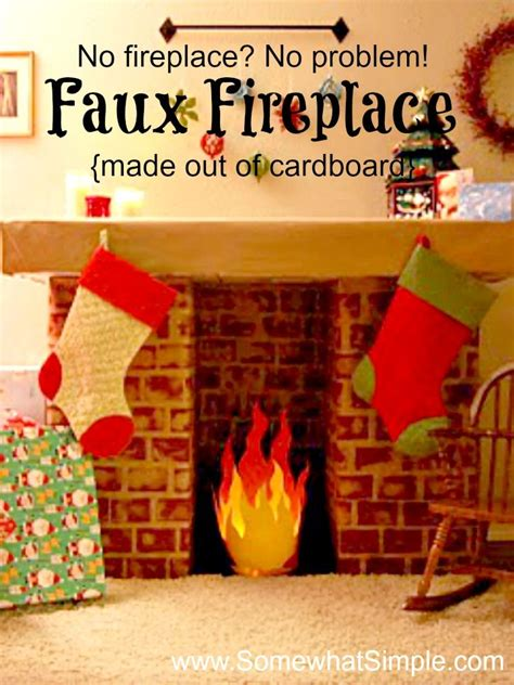faux fireplace   cardboard diy christmas
