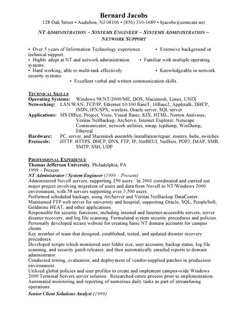 Windows Resume Exles by Windows Administrator Resume Free Resumes