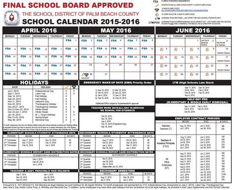 parents palm beach county school calendar