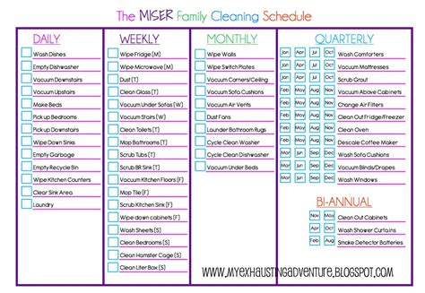 Domestic Cleaning Schedule Template by Julie S Exhausting Adventure Cleaning Checklist