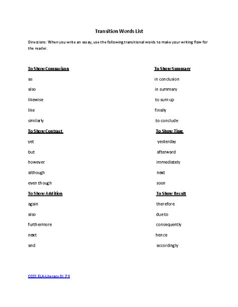 HD wallpapers worksheets on transition words