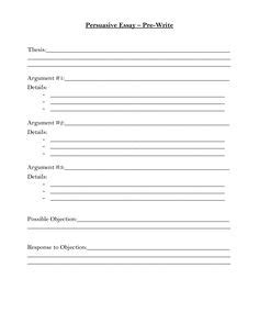 Persuasive Essay Prewriting Worksheet by Handouts On Essay Writing Persuasive