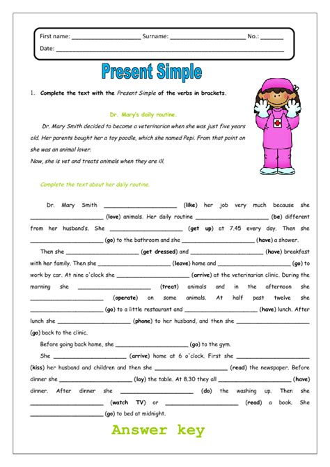 Present Simple And Daily Routines Worksheet