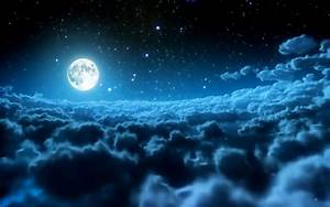 Fantasy Night Moon Clouds Sky Wallpaper - Images, Photos ...