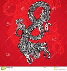 Ancient Chinese Dragon And Red Background Stock Vector ...