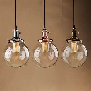 Vintage industrial pendant light glass globe shade ceiling