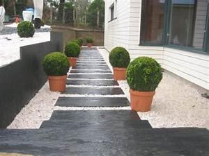 une allee de jardin en ardoise maison pinterest With lovely deco de jardin avec caillou 4 idee deco jardin galet blanc