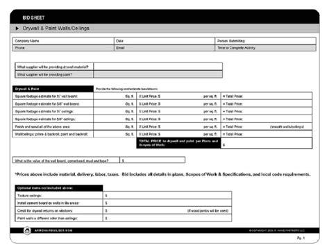 Sample Bid Sheet