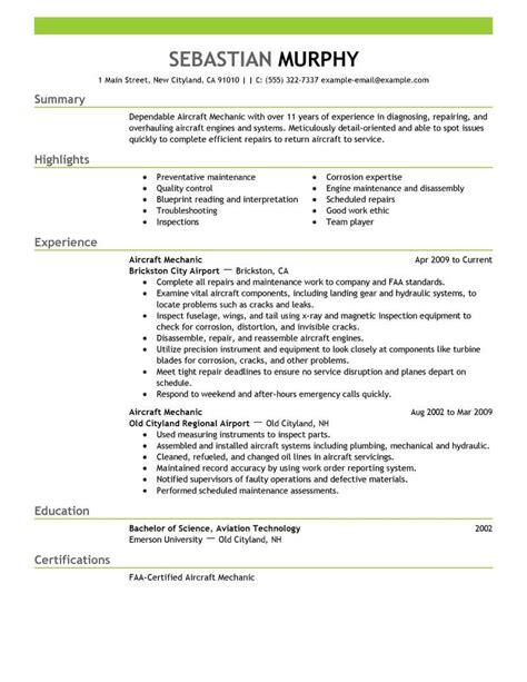 best aircraft mechanic resume exle livecareer