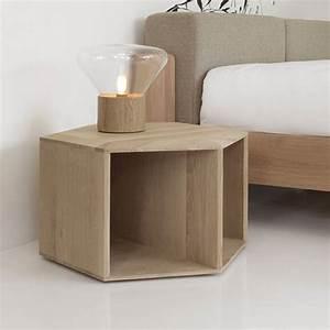Petite Table En Bois : hexa petite table ou table de chevet design en bois disponible en plusieurs essences de bois ~ Teatrodelosmanantiales.com Idées de Décoration