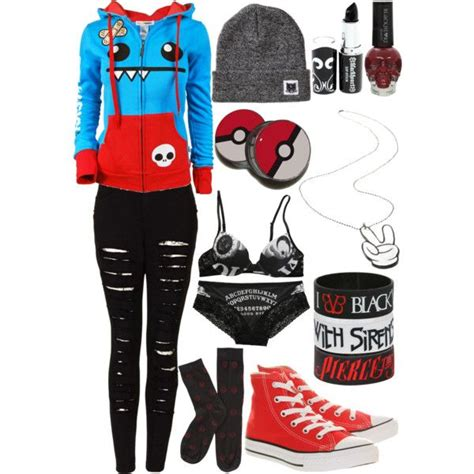 Black Red White u0026 Blue scene/emo girl outfit | My Polyvore | Pinterest | Red white blue Emo ...