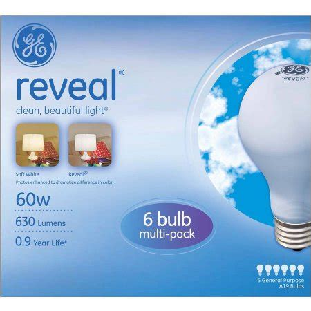 ge reveal incandescent 60w a19 light bulbs 12 pk of 6