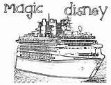 Cruise Coloring Ship Disney Magic Dream Template Netart Seas sketch template