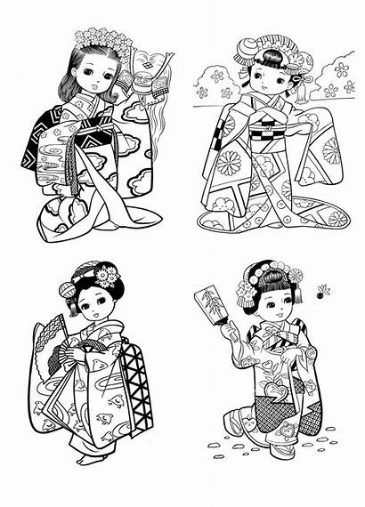 Coloring Japanese Japan Pages Drawing Child Printable
