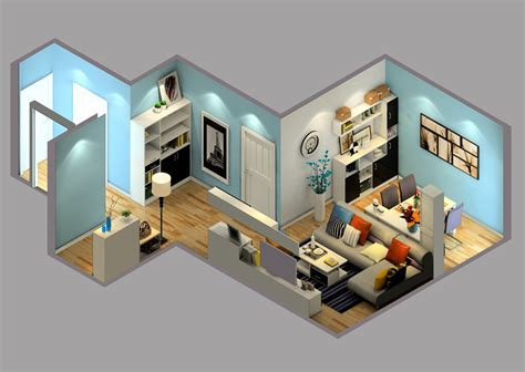 modern home interior layout sky view