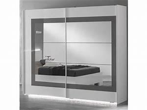 Armoire Laqué Blanc : armoire 2 portes coulissantes ancona laque blanc grisl 200 x h 210 x p 63 ~ Teatrodelosmanantiales.com Idées de Décoration