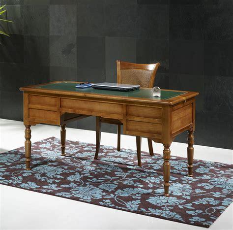 bureau ministre 5 tiroirs en merisier massif de style louis philippe meuble en merisier massif