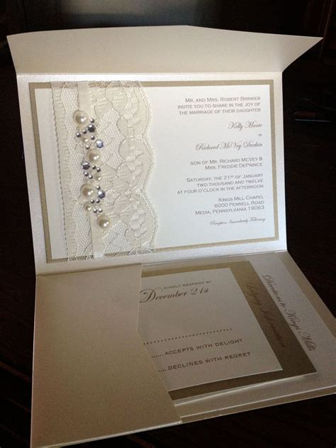 sle lace and rhinestone wedding invite invitation