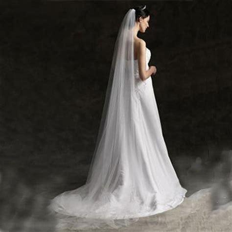 Fashion Long Bridal Wedding Single Veil Trailing White