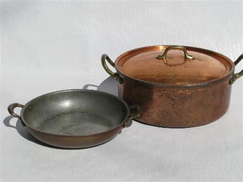 lot  vintage solid copper brass kitchen pots pans dansk