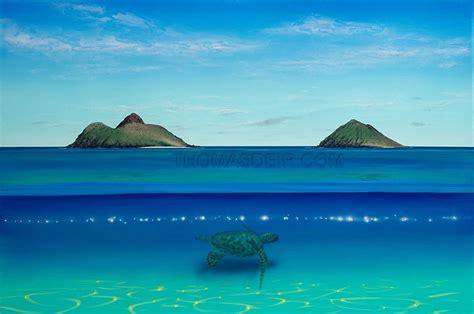 lanikai turtle beach painting thomas deir honolulu  artist