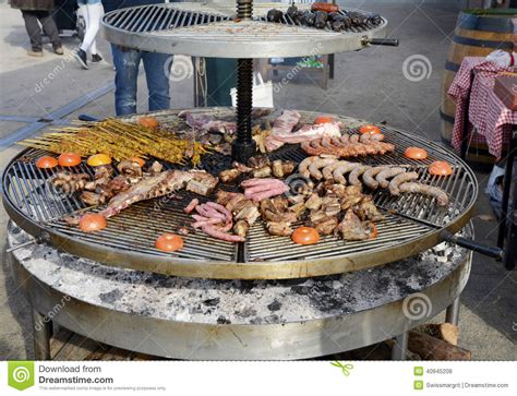 outdoor grilling large outdoor grill with a variety of meat stock photo image 40945208