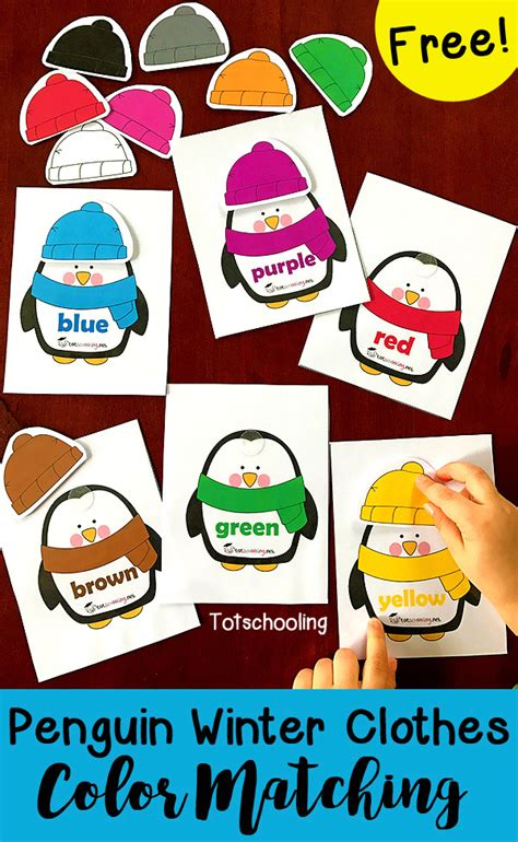 penguin winter clothes color matching totschooling