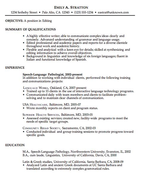 How To Write A Professional Resume Exles by Resume Sle For An Editor Susan Ireland Resumes